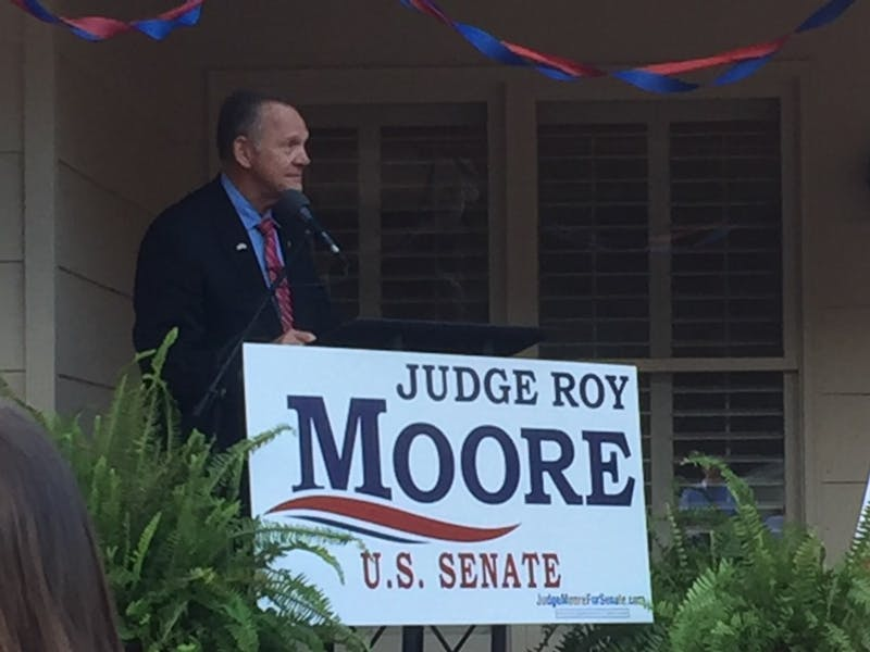 Former Alabama Chief Justice Roy Moore makes a campaign stop in Auburn.