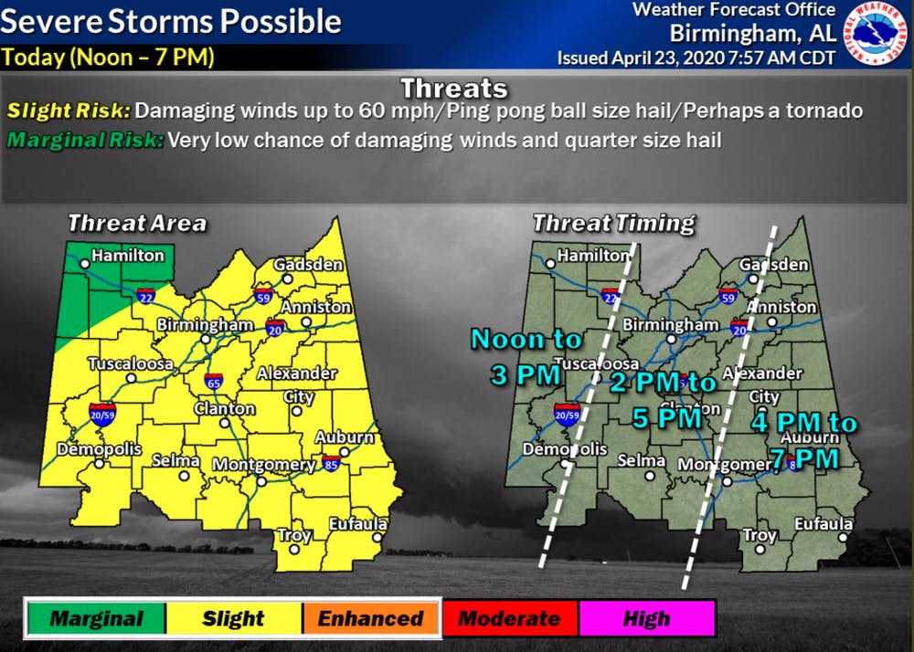 Risk of severe weather in Lee County on Thursday