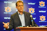 Auburn Football Head Coach Gus Malzhan speaks to the media about the start of spring football practice, March 1, 2016, in Auburn, Ala.
