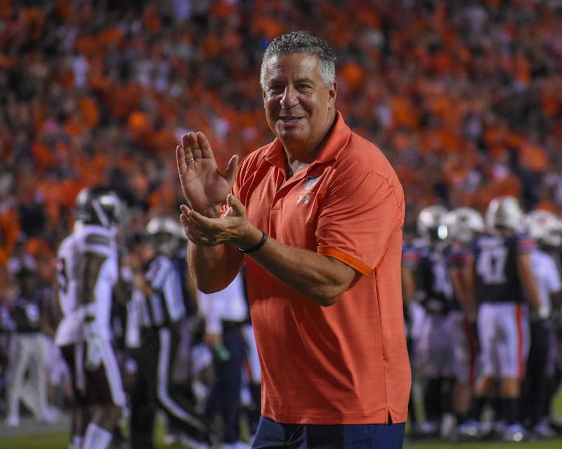 Bruce Pearl cheers on the tigers during Auburn vs. Mississippi State, on Saturday, Sept. 28, 2019, in Auburn, Ala.