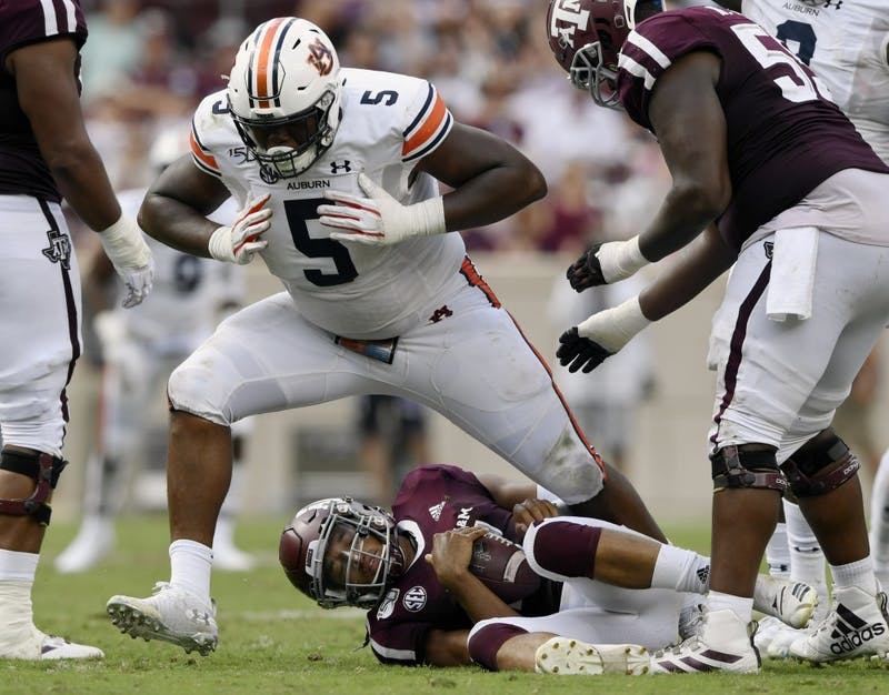 Auburn's Derrick Brown gets a soack in the first half.Auburn vs Texas A&M on Saturday, Sept. 21, 2019 in College Station, TX.Todd Van Emst/AU Athletics