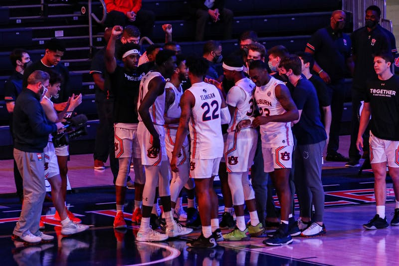 Mar 6, 2021; Auburn, AL, USA; The team reacts before the game during the game between Auburn and Mississippi State at Auburn Arena. Mandatory Credit: Jacob Taylor/AU Athletics