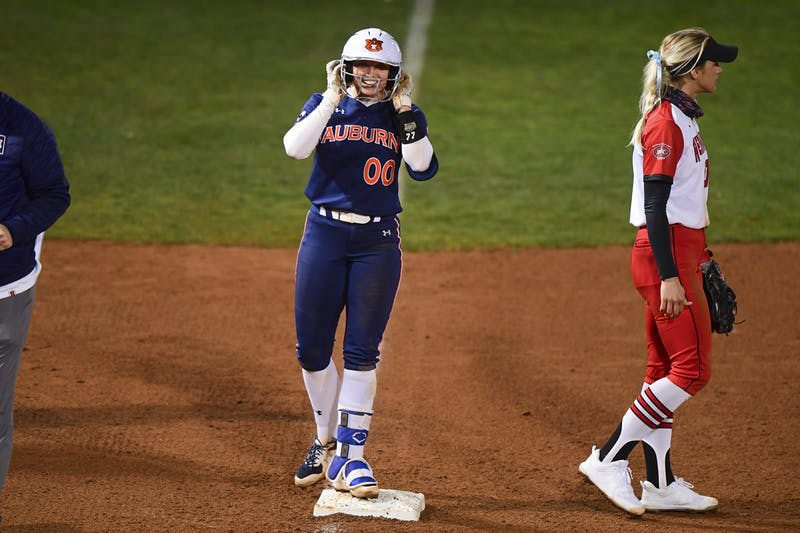 Auburn Tigers Aspyn Godwin (0) reacts at third base during the second game against Southeast Missouri State at Jane B. Moore Field on Feb 13, 2021; Auburn, AL, USA. Photo via: Shanna Lockwood/AU Athletics