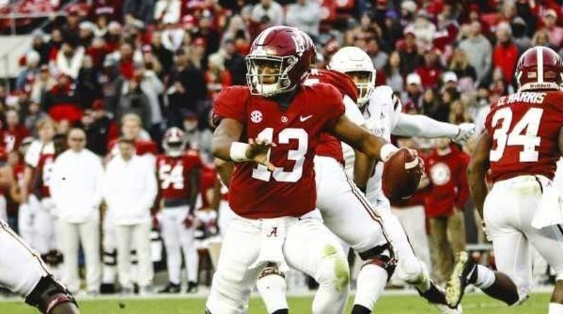 Tua Tagovailoa (13) looks to pass during Alabama football vs. Mississippi State on Nov. 10, 2018, in Tuscaloosa, Ala. Photo courtesy of Hannah Saad / The Crimson White.