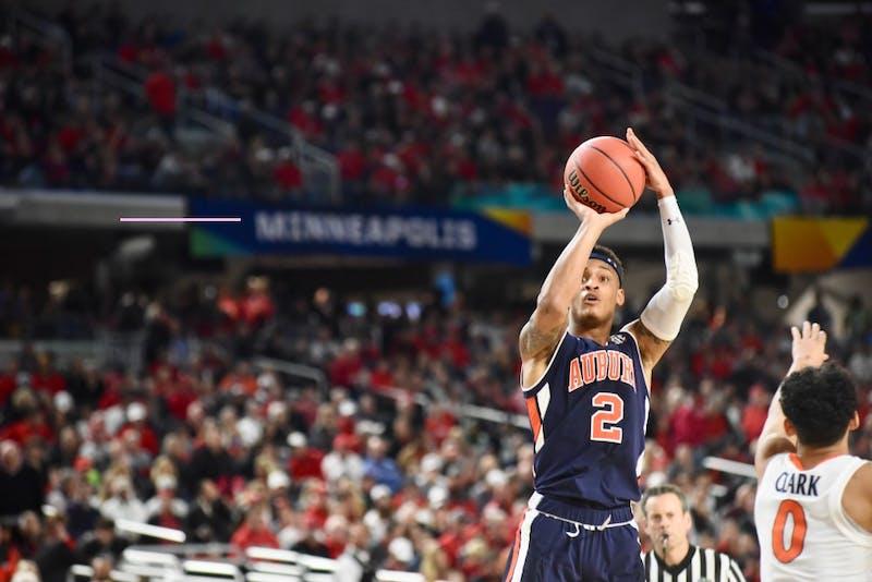 Bryce Brown (2) shoots the ball during UVA vs. Auburn on Saturday, April 6, 2019, in Minneapolis, Minn.