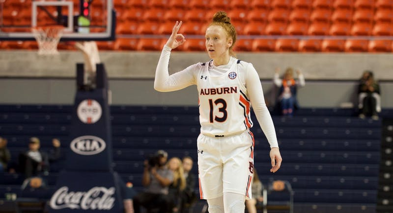 Lauren Hansen (13) celebrates making a 3-pointer in Auburn Women's Basketball vs. Mississippi State on Feb. 20, 2020 in Auburn, AL