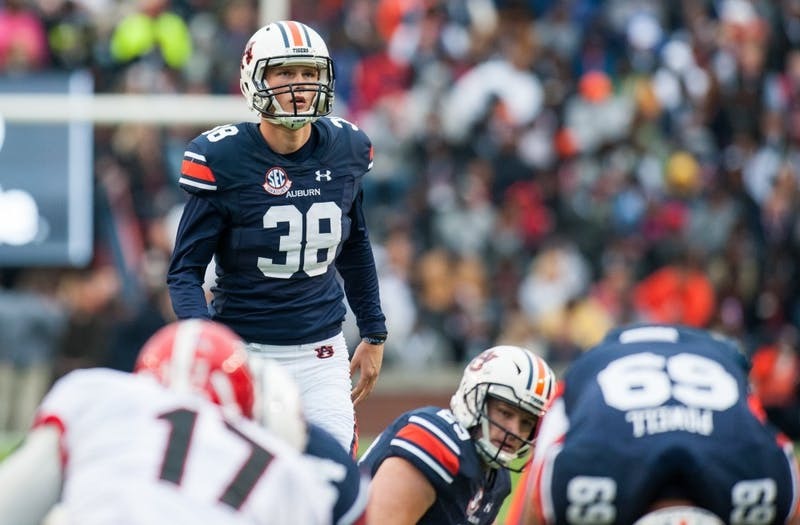 Daniel Carlson (38) lines up for a field goal in the first half. Auburn vs Georgia on Saturday, Nov. 11 in Auburn, Ala.