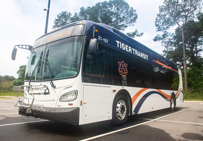 One of the new hybrid Tiger Transit buses