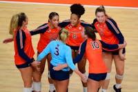 Nov 19, 2020; Auburn, AL, USA; Auburn volleyball players huddle during the volleyball match against Tennessee at Auburn Arena. Mandatory Credit: Shanna Lockwood/AU Athletics