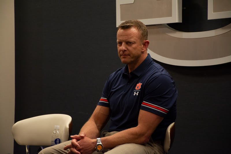 Auburn head coach Bryan Harsin speaks to members of the media ahead of Auburn's AMBUSH event on May 24, 2021 in Auburn, Alabama.
