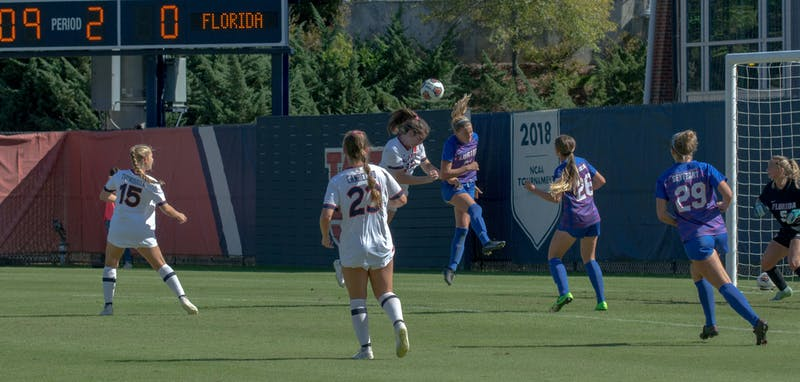 Auburn, well into the second half, attempts another one of their many shots on goal against Florida