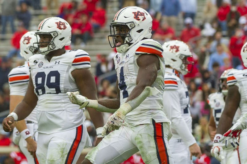 Oct 24, 2020; Oxford, Mississippi, USA; Auburn Tigers running back Tank Bigsby (4) reacts after scoring a touchdown during the second half against the Auburn Tigers  at Vaught-Hemingway Stadium. Mandatory Credit: Justin Ford-USA TODAY Sports