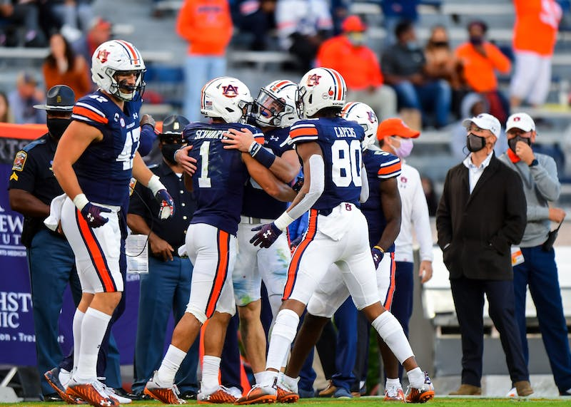 Anthony Schwartz (1) reacts after a touchdown during the game between Auburn and LSU at Jordan-Hare Stadium on Oct 31, 2020; Auburn AL, USA. Photo via: Shanna Lockwood/AU Athletics