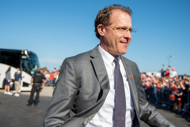 Gus Malzahn walks through the Tiger walk prior to the Outback Bowl vs Minnesota, on Wed, Jan. 1, 2020, in Tampa, Florida.