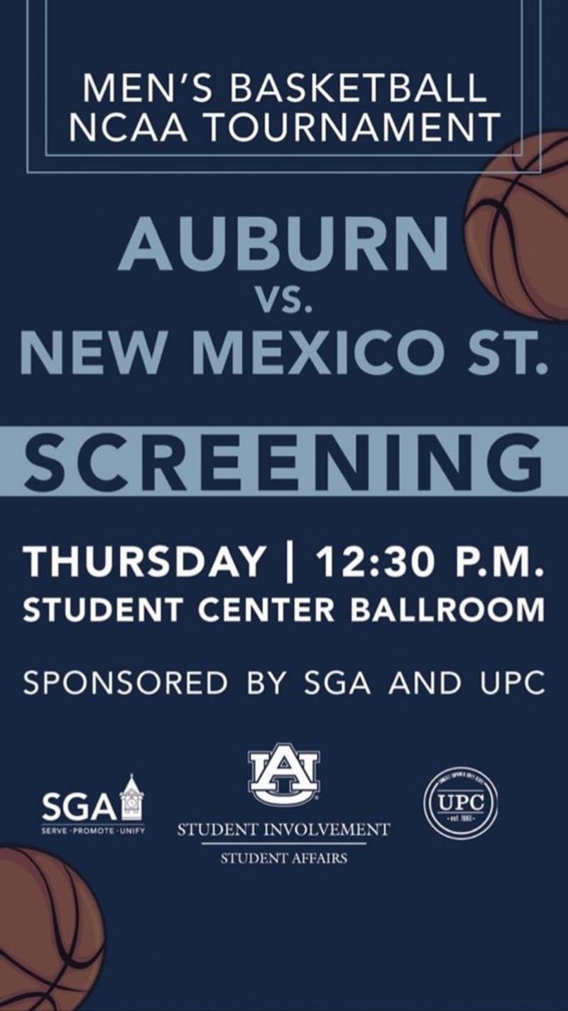 SGA and UPC are pairing to host a screening for Auburn's men's basketball game on Thursday at 12:30 p.m. against New Mexico State.