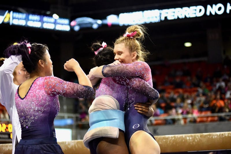 Auburn Gymnastics defeats Iowa on Friday, Jan. 4, 2019, in Auburn, Ala.