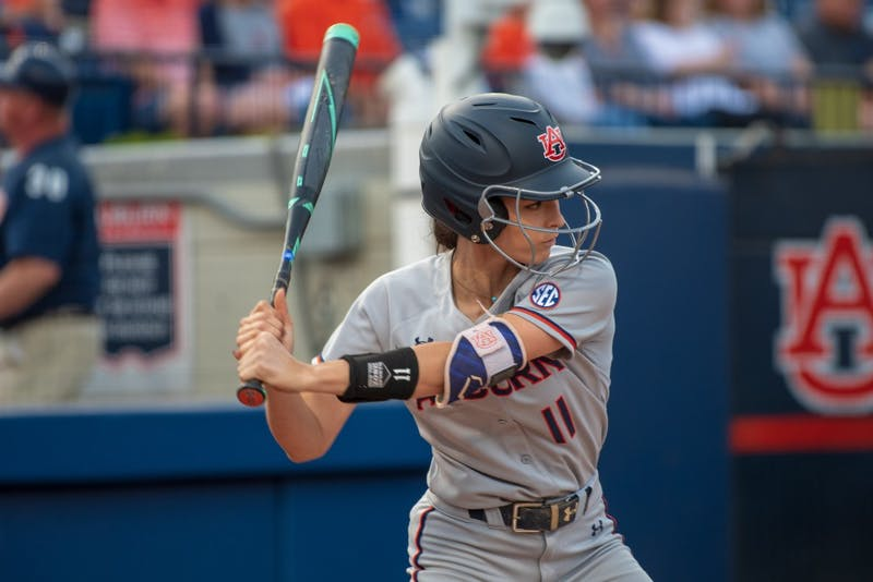 Casey McCrackin (11) waits for the pitch during Auburn Softball vs. South Carolina, on Friday, April 12, 2019, in Auburn, Ala.