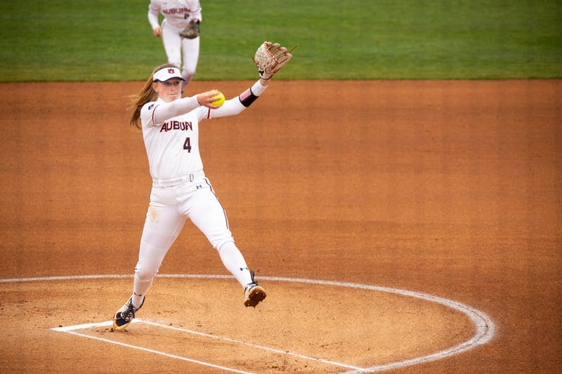 Maddie Penta (4) starts at pitcher for the third game between Auburn and Southeast Missouri State at Jane B Moore Field on Feb 14, 2021; Auburn, AL, USA. Photo via: Matthew Shannon/AU Athletics