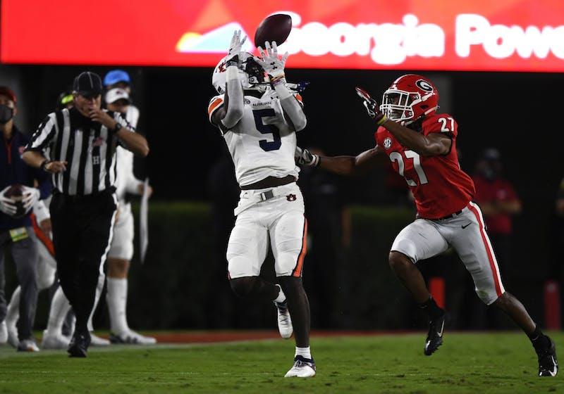 Oct 3, 2020; Athens, GA, USA; Kobe Hudson (5) catches the ball during the game between Auburn and Georgia at Samford Stadium. Mandatory Credit: Todd Van Emst/AU Athletics