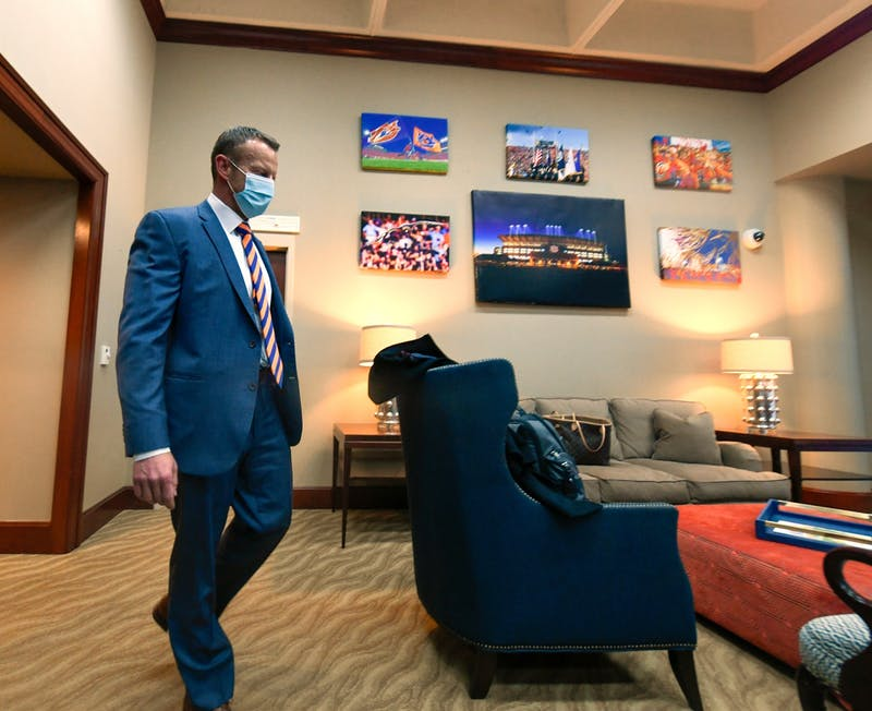 Dec 24, 2020; Auburn AL, USA; Bryan Harsin arrives at the athletics complex for the first time before his press conference at Auburn.  Todd Van Emst/AU Athletics