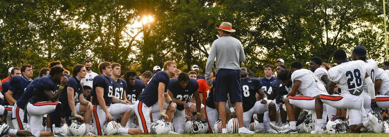 Coach Gus Malzahn talks to his team following practice Wednesday.Auburn Football practice on Wednesday, Sept. 9, 2019 in Auburn, Ala. Todd Van Emst/AU Athletics