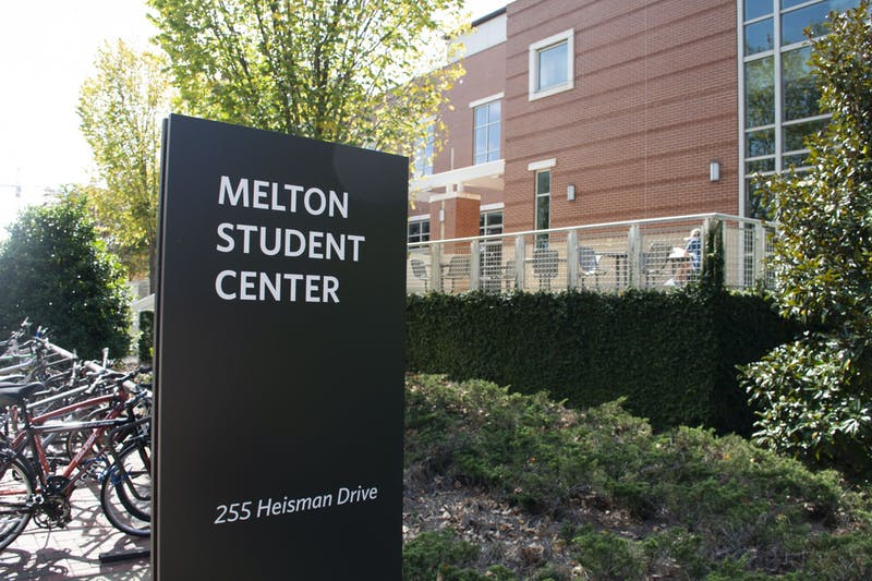Newly installed signage dedicates the Student Center to Harold Melton as seen on Oct. 21, 2020, in Auburn, Ala.