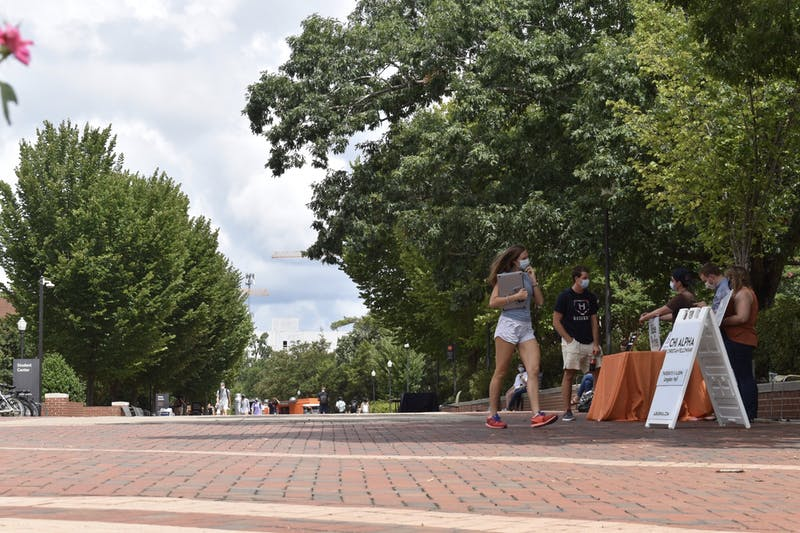 The Haley Concourse sees less traffic and promotion of campus clubs during Covid-19 pandemic on August 27th, 2020, in Auburn, AL.