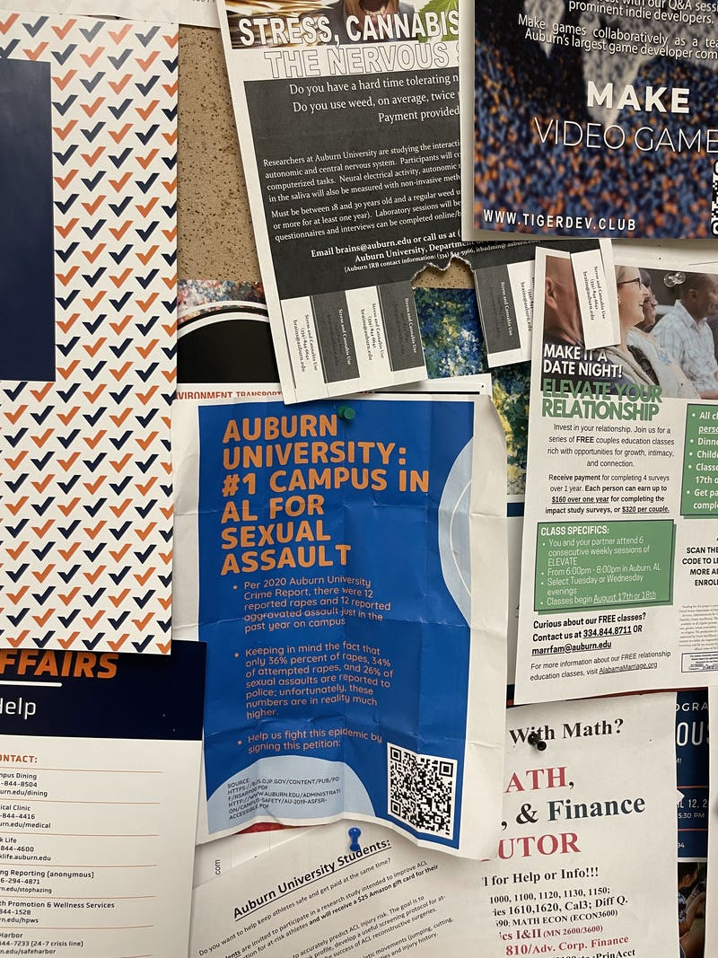 A flyer posted in Haley Center that claims that Auburn University is the No.1 campus in Alabama for sexual assault.