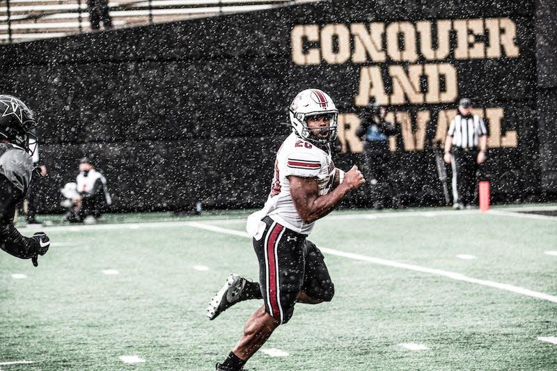 South Carolina running back Kevin Harris runs the ball against Vanderbilt. Photo via SEC Media Portal.