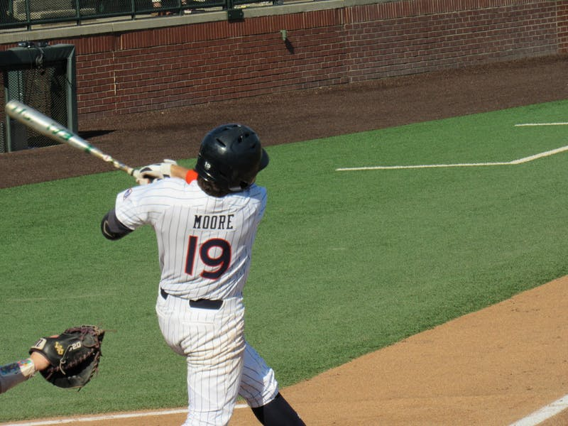 Brody Moore (19) bats for Auburn against LSU at Plainsman Park on May 8, 2021; Auburn, AL
