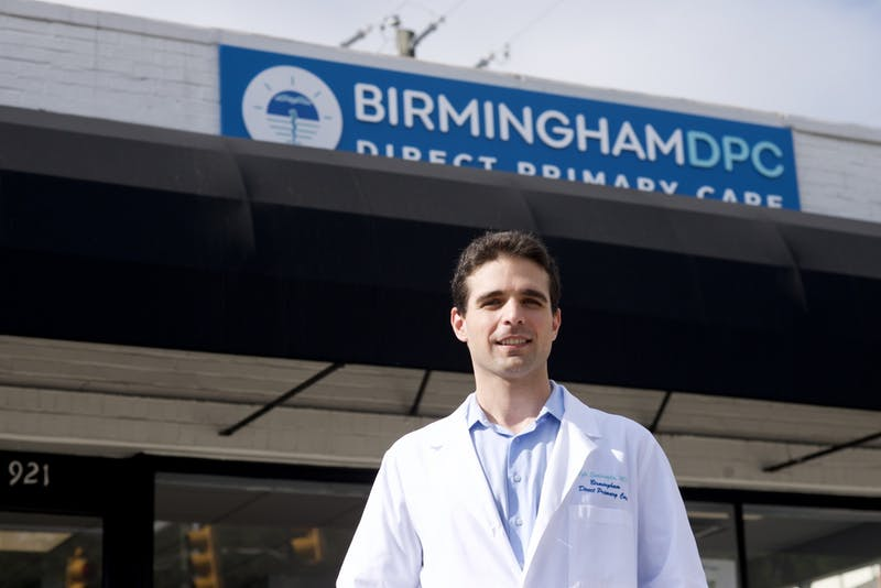 Dr. Efe Sahinoglu outside his clinic, Birmingham Direct Primary Care, on July 16, 2020 in Homewood, Ala.