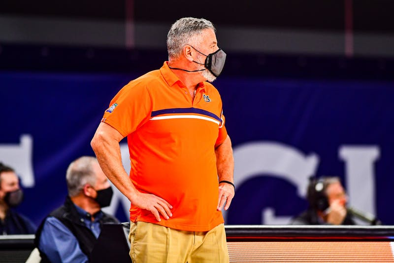 Jan 31, 2021; Auburn, AL, USA; Auburn Tigers head coach Bruce Pearl watches the team during the game between Auburn and Georgia at Auburn Arena. Mandatory Credit: Shanna Lockwood/AU Athletics