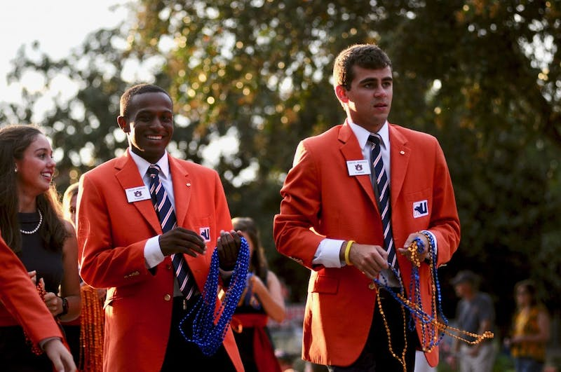 The Plainsmen and War Eagle Girls during the Homecoming Parade on Friday, Sept. 28, 2018, in Auburn, Ala.