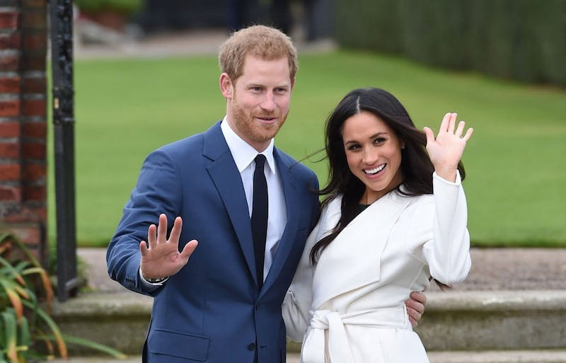 Prince Harry and Meghan Markle at a photocall to announce their engagement at Kensington Palace, in London, England, on Monday November 27, 2017. (Eddie Mulholland/Daily Telegraph/PA Wire/Abaca Press/TNS)