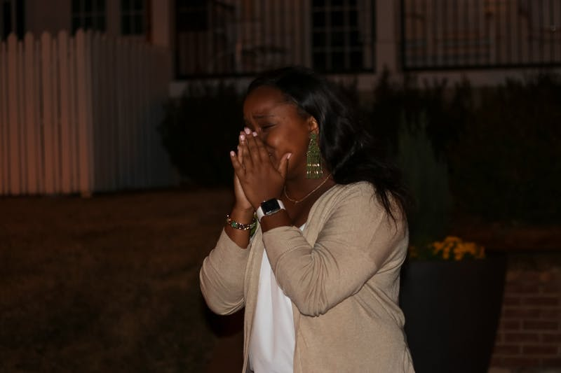 Huntley reacts after being announced as the next SGA president.