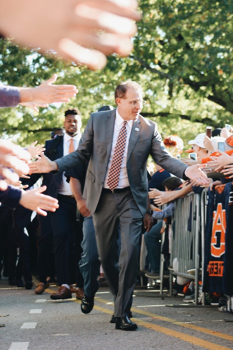 Gus Malzahn greeting Auburn Fans during Tiger Walk at Auburn Football vs Ole Miss, on Nov. 2, 2019, in Auburn, Ala.