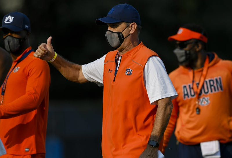 Kevin Steele Auburn Football practice on Tuesday, Sept. 8, 2020 in Auburn, Ala.  Todd Van Emst/AU Athletics