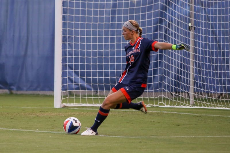 Goalie Sarah Le Beau (14) kicks the ball during the second half of the soccer match between South Carolina on Sunday. Sept. 8, 2016.