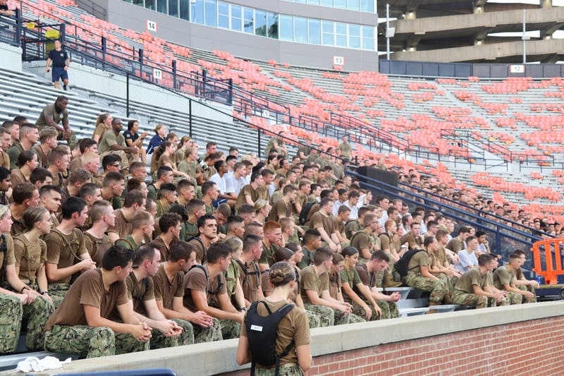 Auburn Universities NROTC holds a workout inside Jordan-Hare Stadium in order to honor victims of 9/11 on Sept. 8, 2021, in Auburn, Ala.