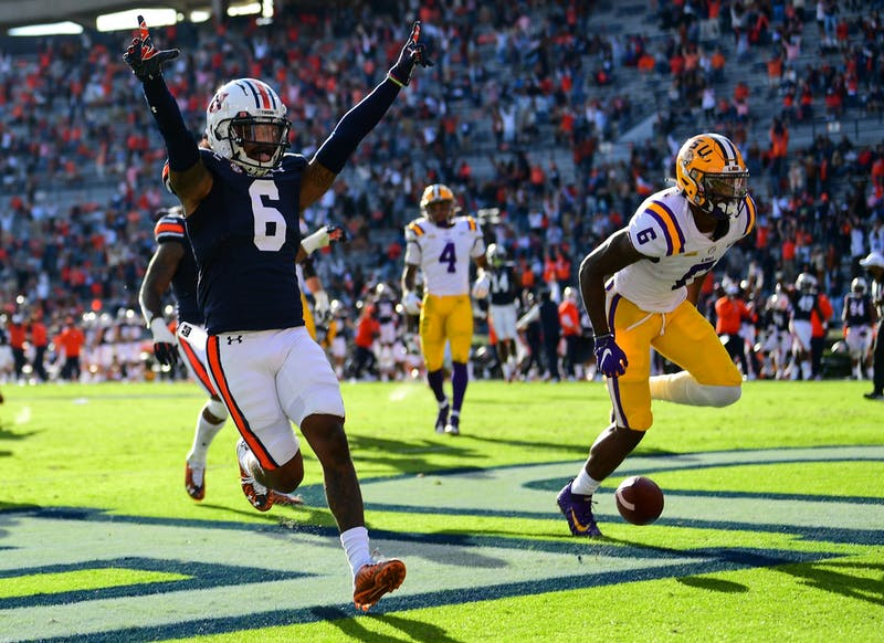 Christian Tutt (6) reacts after a touchdown during the game between Auburn and LSU at Jordan Hare Stadium on Oct 31, 2020; Auburn AL, USA. Photo via: Shanna Lockwood/AU Athletics