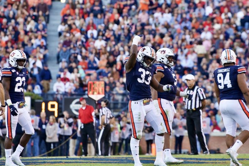 K.J. Britt (33) during the Auburn vs. Georgia game on Saturday, Nov. 16, 2019, in Auburn, Ala.