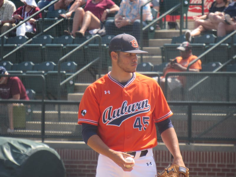 Joseph Gonzalez (45) pitching for Auburn against Texas A&M on May 16, 2021
