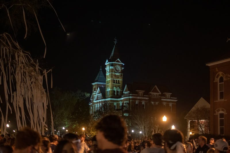 Samford Hall from Toomer's Corner after the Tigers win over UNC in the Sweet 16, on Friday, March 29, 2019, in Auburn, Ala.