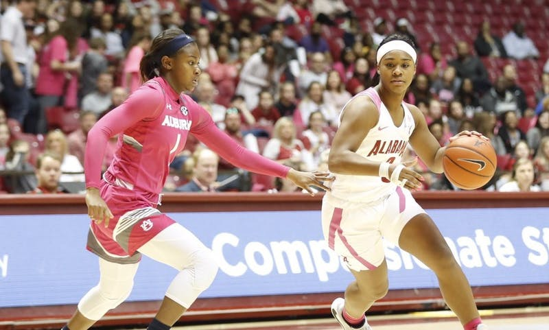 Robyn Benton (1) defends during Auburn women's basketball at Alabama on Feb. 9, 2020, in Tuscaloosa, Ala. Photo via Alabama Athletics.