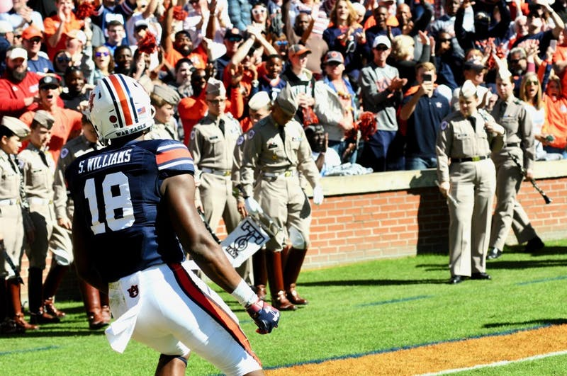 Seth Williams (18) celebrates after his touchdown during the first half of Auburn Football vs. Texas A&M on Saturday, Nov. 3, 2018, in Auburn, Ala.