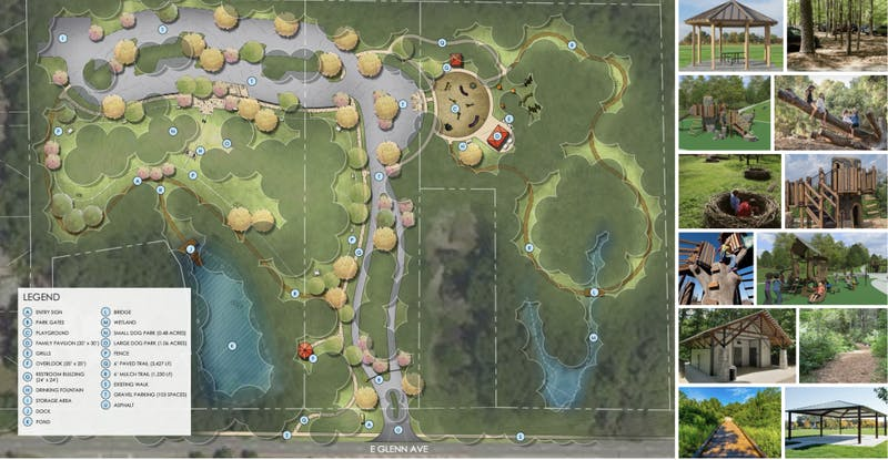 A concept plan for Dinius Park contributed by the City of Auburn.