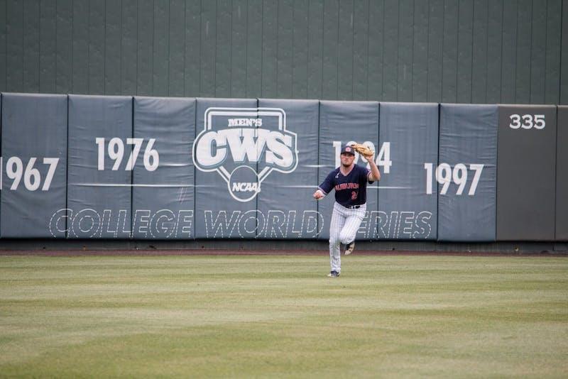 Conor Davis (24) catches the ballfor Auburn Baseball against Mississippi State on Saturday, April 14, 2018, in Auburn, Ala.