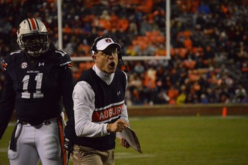 Gus Malzahn reacts to a call.  Emily Enfinger | Assistant Photo Editor