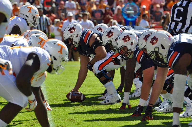 The Auburn Tigers offensive line during Auburn Football vs. Tennessee on Saturday, Oct. 13, 2018 in Auburn, Ala.