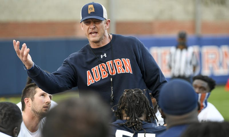 Coach Bryan Harsin talks to his team toward the end of practice Monday. AU FB 1st day of spring practice on Monday, March 15, 2021 in Auburn, Ala. Todd Van Emst/AU Athletics